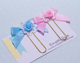 Rosette Ribbon Bow Clip- Planner Accessories, Ribbon Bow Clips, Book Marks, Page Markers, Paper Clips