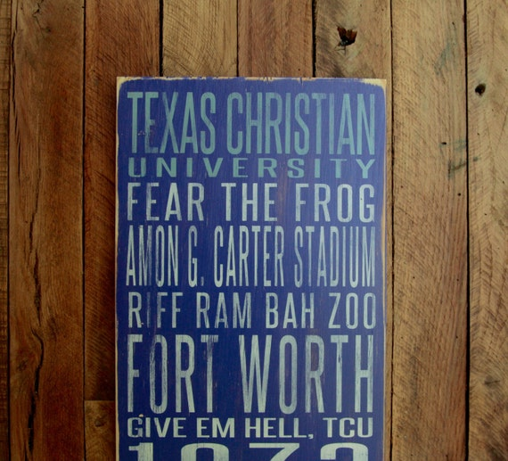 Texas Christian University Horned Frogs Distressed Wood Sign--Great Father's Day Gift!