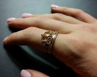 SOLID 14kt rose (pink) gold Princess ring