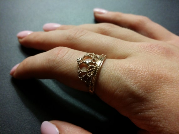 SOLID 14kt rose (pink) gold Princess ring