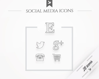 "Social media icons ""Zen"" - simple, minimal web buttons"