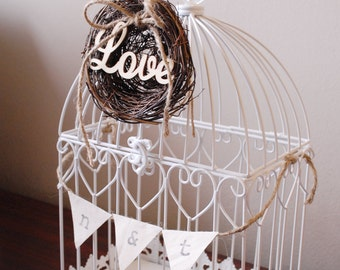 Rustic Birdcage Card Holder for Wedding #1 - White