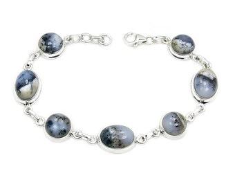 Dendritic Opal & .925 Sterling Silver Bracelet , AD912