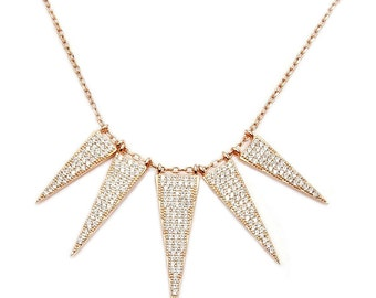 CZ, .925 Sterling Silver & Rose Gold 5 Triangle Bib Necklace Jewelry , AD259