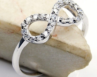 Infinity CZ & .925 Sterling Silver Ring Size 7.75, 9,  X174, X95 The Silver Plaza Jewelry