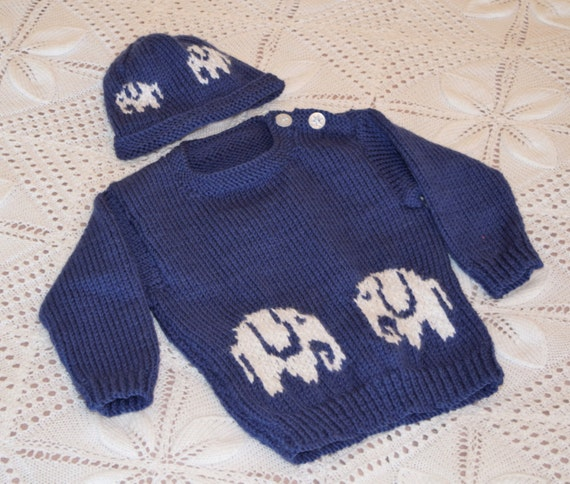 Baby Sweater and Hat knitting pattern with Elephants, Aran Sweater and Hat fe...