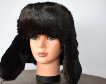 Vintage RABBIT FUR HAT ,dark chocollat fur hat....(011)