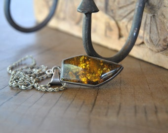 Vintage SILVER necklace , one of a kind , handmade with amber pendant ....