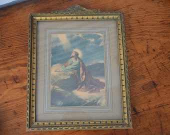 Vintage Framed Jesus Print * Religious * Detailed Frame * Gold Frame * Praying *