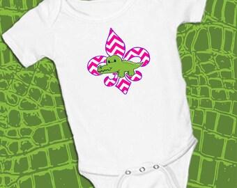 Alligator on Pink Chevron Fleur De Lis, Girl on White onsie Snap bottom all in one bodysuit