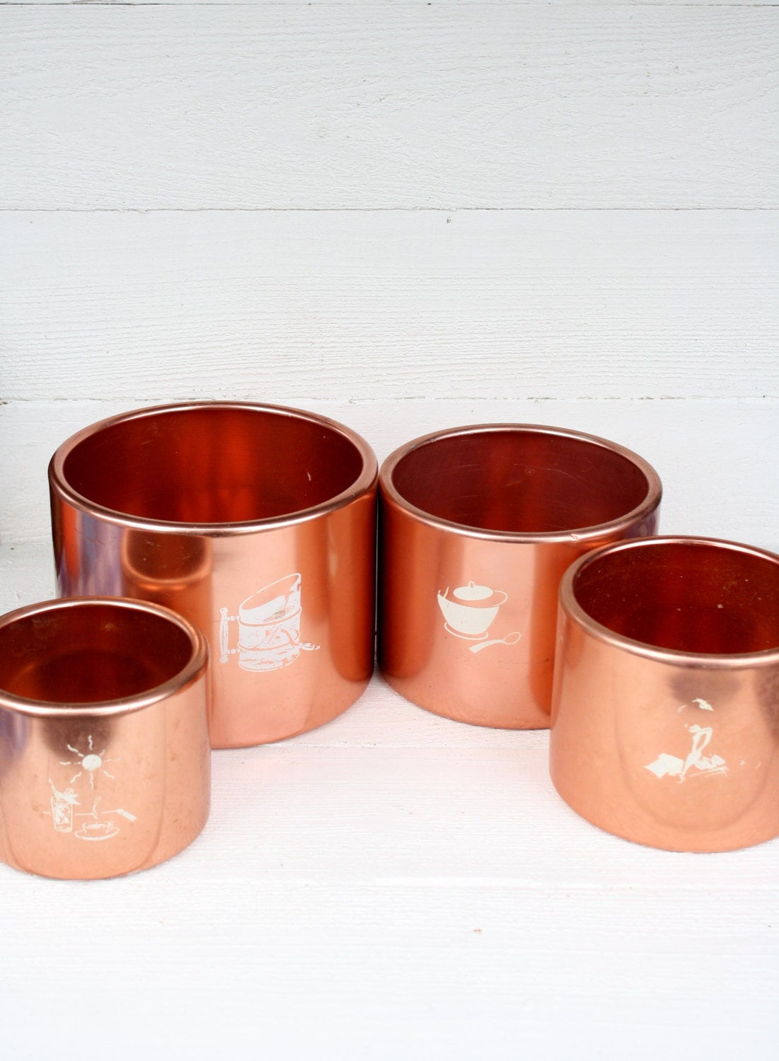 Vintage Mirro Copper Kitchen Canisters