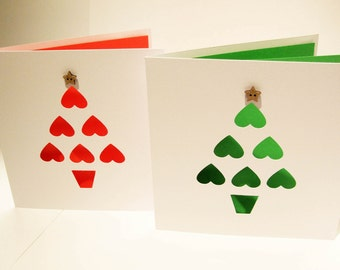 Set of 2 Christmas Cards - Paper Cut Christmas Tree with Coconut Button Star- Handmade Greeting Card - Holiday Card