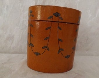 Beautiful Vintage Painted Cognac color Container with Lid