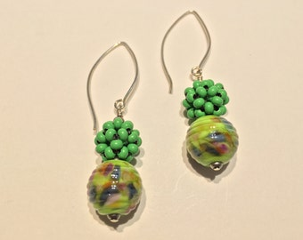 Lampwork glass beads and beaded bead earrings
