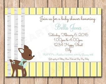 Little Deer Woodlands Baby Shower Invitation - 1.00 each printed or 10.00 DIY file