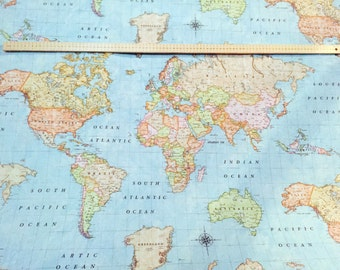 World map fabric etsy world map 3 designer curtain upholstery cotton fabric material 55140cm wide and gumiabroncs Choice Image