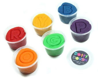 Handmade Child's Dough - Rainbow play dough colours perfect for kids to play, model and make