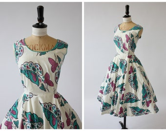 Vintage original 1950s 50s Lady Catherine novelty floral print cotton dress in magenta and turquoise UK 8 10 US 4 6 S