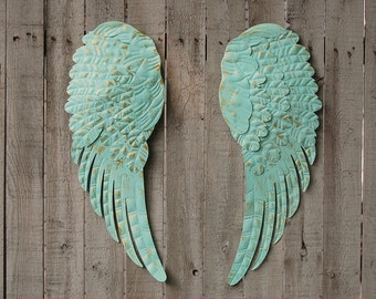 Angel Wings, Wall Decor, Shabby Chic, Aqua, Gold, Hand Painted, Part 86