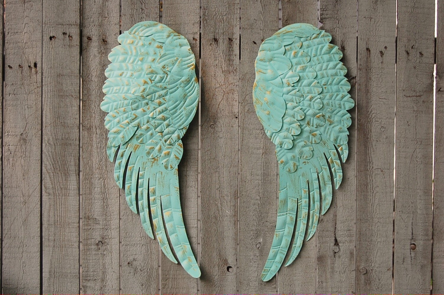 Angel wings wall decor shabby chic aqua gold hand for Angel wall decoration