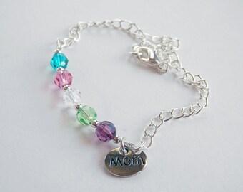 "Mothers Crystal Ankle Bracelet, Mothers Anklet, Swarovski Crystal, Birthstone Anklet, Mom Charm, Grandma Charm, 8"", 9"", 10"", 11"", 12"", 13"""