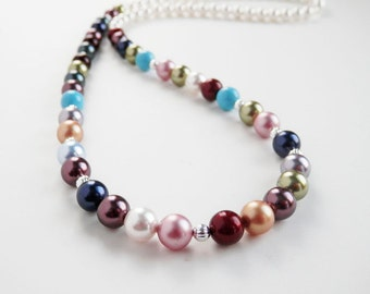 Family Birthstone Pearl Necklace - Mothers Pearl Necklace - Grandmother Necklace -  Swarovski Pearls - Custom Made - Large Family Necklace