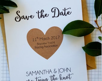Romantic Whimsical Save the Date card/ Tying the Knot Save the Date card
