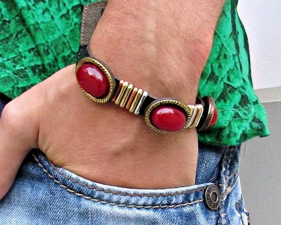 Boho Leather Bracelet, Gemstone Cuff Bracelet, Custom Bracelet