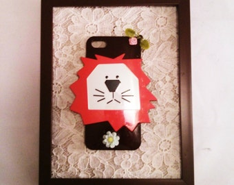 Upcycled Lion Iphone case into Wall decor