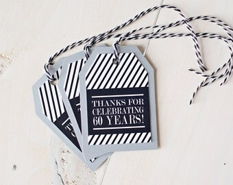 60th Birthday Favor Tags/Cheers to 60 Years/Milestone Party Decorations/Party Favor/60th Party Decor/40th Birthday Decor/50th Birthday Decor