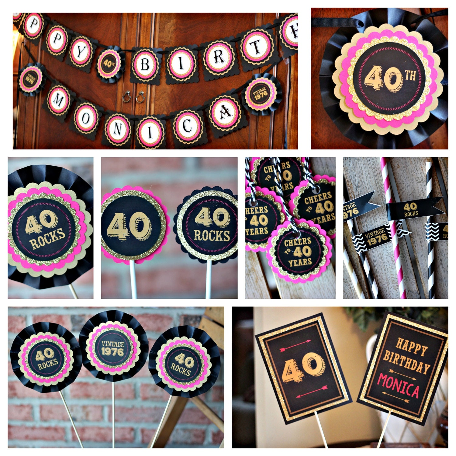 Ladies 40th birthday party decorations black hot pink and for 40th birthday party decoration