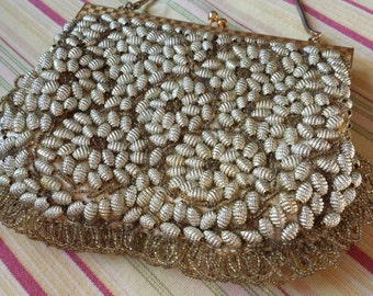 Vintage Hand Made in Hong Kong Gold Beaded Evening Bag 1950s  D705