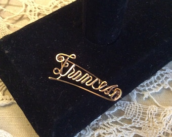 Name Brooch Frances Wire Twisted