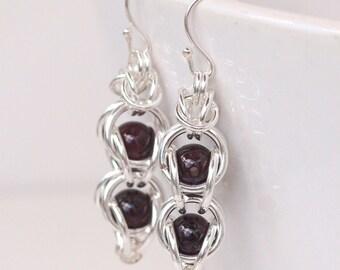 Captured Bead Earrings, Garnet Gemstone Earrings, Chainmaille Earrings, Captive Bead Earrings, Garnet Dangle Earrings, Chainmail Jewelry