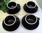 Vintage 1980's SASAKI COLORSTONE – Designed by Massimo Vignelli – Four Cups and Saucers – Matte Black with White Rims – Minimalist – Modern