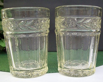Antique EAPG Portland Glass – Kokomo Glass – ARCADIA LACE Pair of Tumblers – Early American Pressed Glass – Circa 1900 -