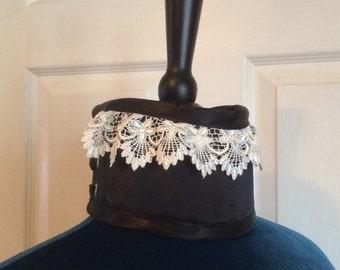 Black Satin Posture Collar with Lace Trim