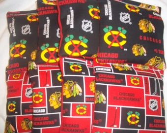 8 ACA Regulation Cornhole Bags - NHL Chicago Blackhawks on 2 Different Prints