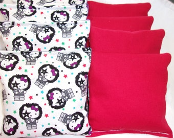 8 ACA Regulation Cornhole Bags -  Hello Kitty Rock Star and Solid Red