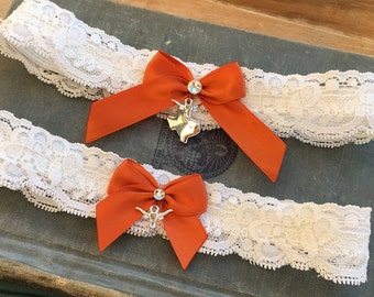 Texas Longhorn Wedding Garter SET, Lace Bridal Garter Set, Lace Garter Set, Silver Longhorns, Ivory & Burnt Orange Garter with Toss Garter