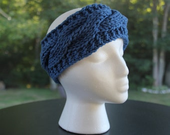 "Cabled Headband, Cobalt ""The Katie"""