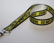 Novelty Lanyard, Ribbon Lanyard, Lanyard, ID Badge and Key Holder, Fashion Lanyard, Fun Lanyard, Crime Scene Ribbon