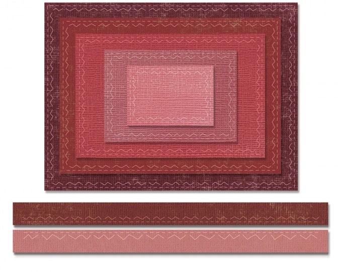 New! Sizzix Tim Holtz Thinlits Die Set 7PK - Stitched Rectangles