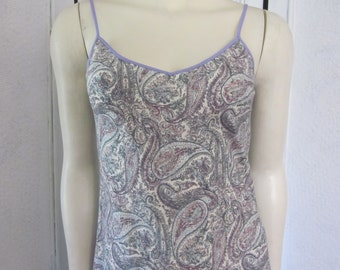 "1990s Cotton Paisley Print Slip Dress by ""J. Crew,"" Size 4"