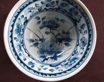 Asian bowl blue white floral geometric pattern rice, noodles, marked