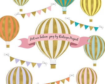 Gold Hot Air Balloon Clipart  Scrapbooking  Invitation Personal and Commercial use  Instant download