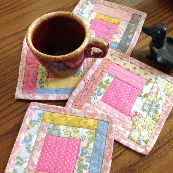A Set Of 4 Quilted Coasters Log Cabin Style Quilt As You Go