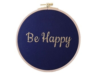 BE HAPPY  Wall frame - Navy and gold Glitter - Home - Decoration