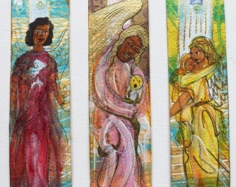 3 Piece Original Hand-painted Angel Art Bookmarks