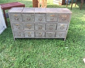 Antique Primitive Wooden Apothecary Multi-Drawer Cabinet